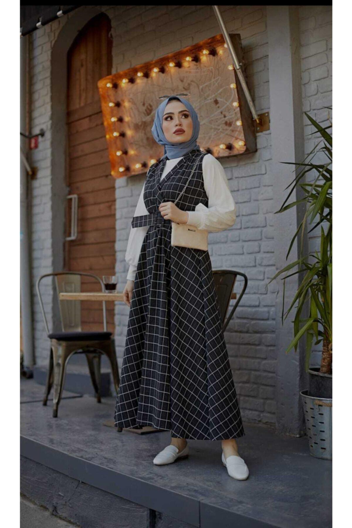 mislina moda Kare Desen 3'lü Jile Desen Kombin Elbise 1