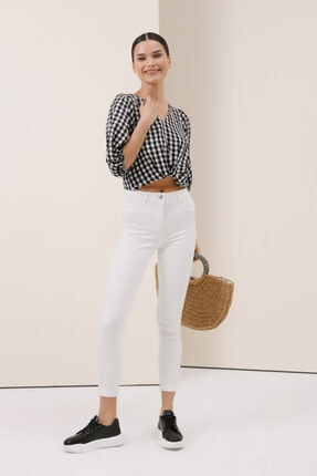 Gusto Power Streç Pantolon - Beyaz