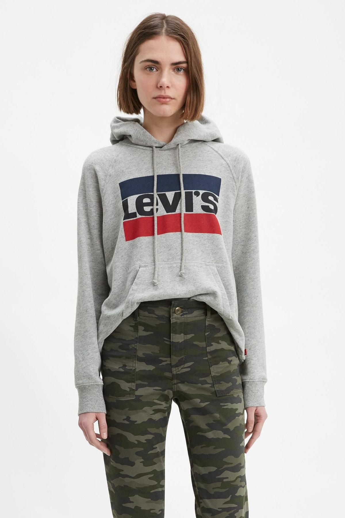 Levi's Kadın Kapüşonlu Gri Sweatshirt 35946-0111 1