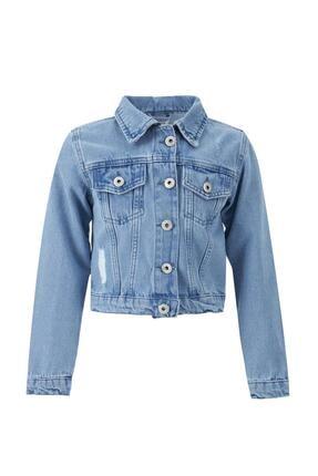DeFacto Kız Çocuk Yıpratma Detaylı Crop Jean Ceket