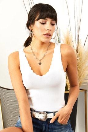 Olalook Kadın Beyaz Merdiven Yaka Triko Bluz BLZ-19001399