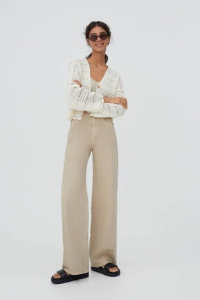 Pull & Bear Kadın Bej Renkli Culotte Jean