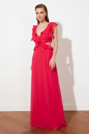 TRENDYOLMİLLA Fuşya Yaka Detaylı  Abiye & Mezuniyet Elbisesi TPRSS21AE0103