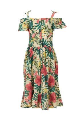 DeFacto Pembe Desenli Askılı Dokuma Elbise