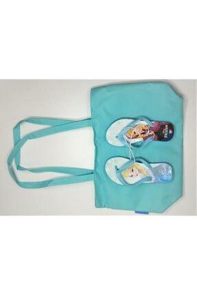 DISNEY Kız Çocuk Çok Renkli Frozen Lisanslı Elsa Plaj Çantası Ve Parmak Arası Terlik