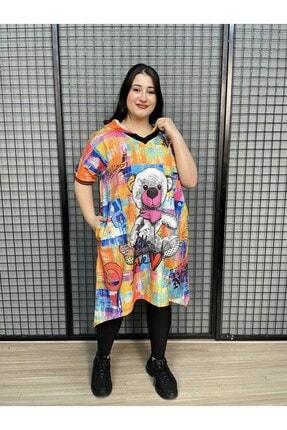 WAWA Kadın Renkli Baskılı ve Taşlı Büyük Beden Tunik