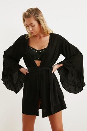 TRENDYOLMİLLA Siyah Volanlı Viskon  Kimono&Kaftan TBESS21KM0002