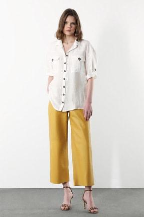 Network Kadın Beyaz Polo Yaka Keten Gömlek 1078896