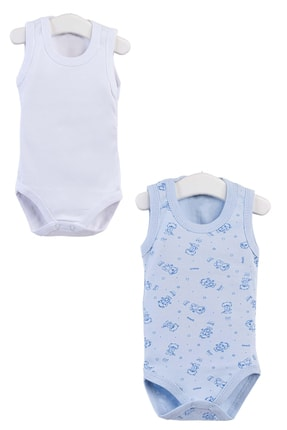 Pattaya Kids Erkek Bebek Mavi Kolsuz Çıtçıtlı Body Ptk20s-401
