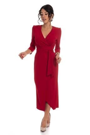 AYHAN Kadın Kırmızı Kruvaze Avelop Truvakar Krep Şık Elbise