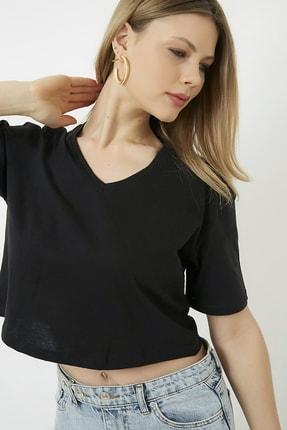 Vis a Vis Kadın Siyah V Yaka Crop T-Shirt STN878KTS122