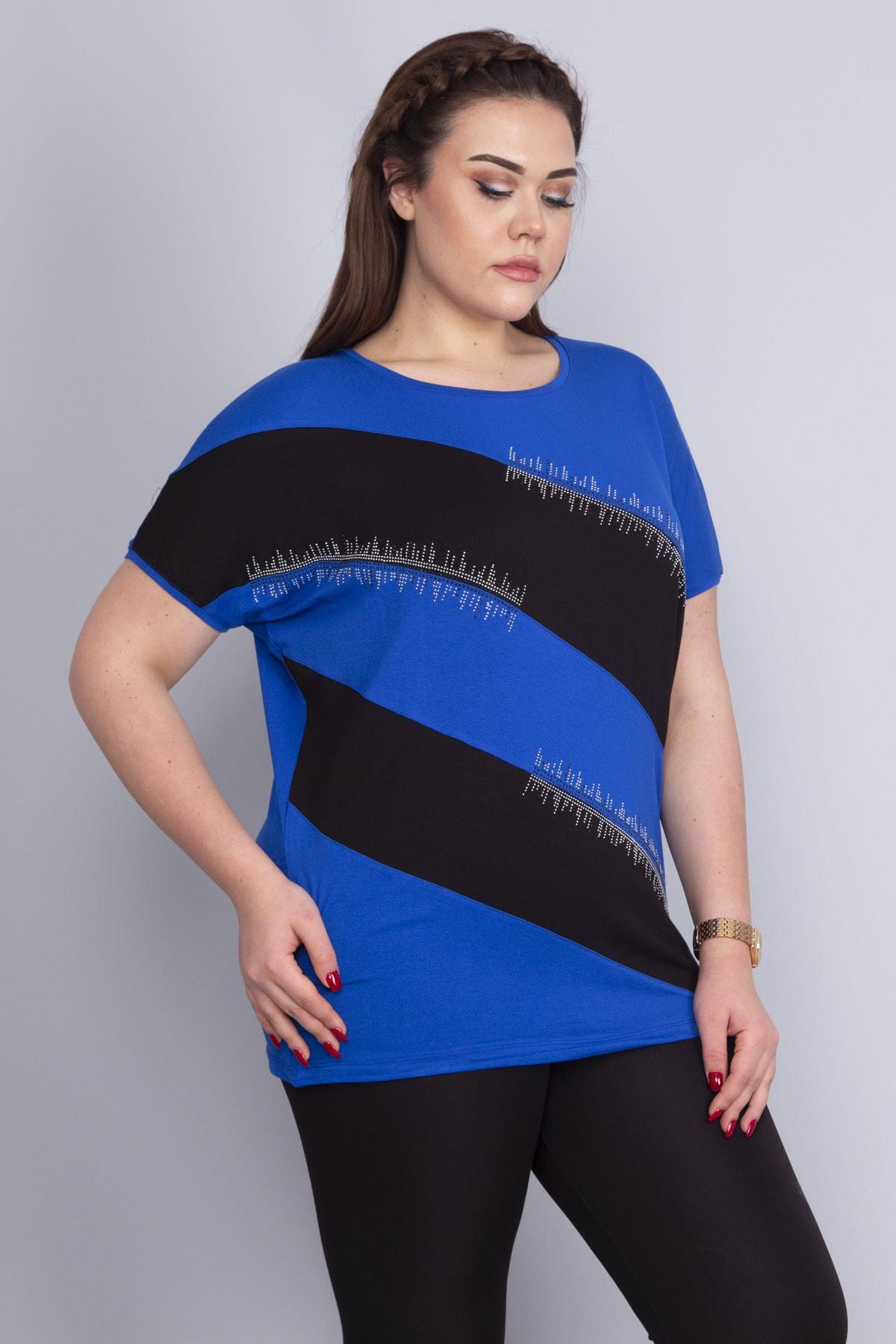 Şans Kadın Saks Taş Detaylı Düşük Kollu Viskon Bluz 65N22687 1