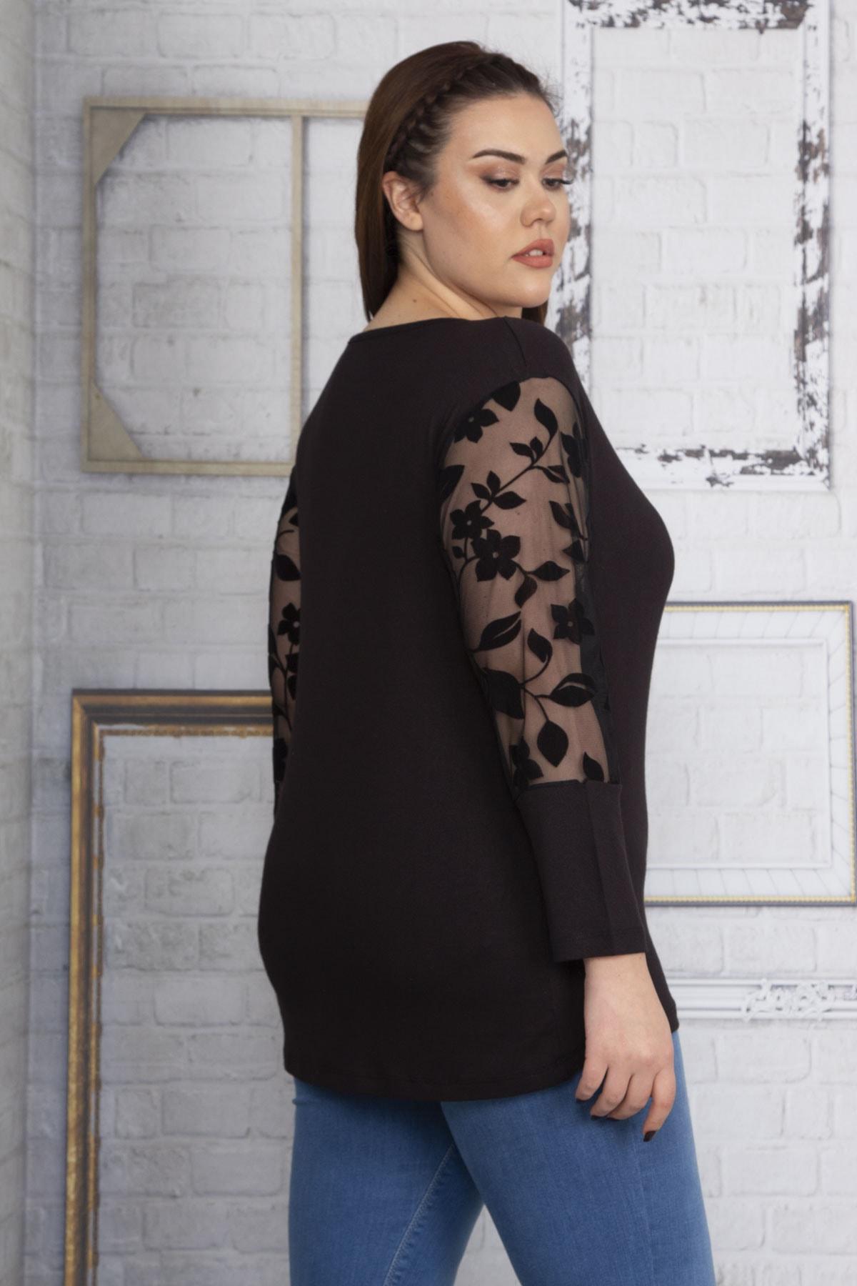 Şans Kadın Siyah Yakası Tül Kolları Flok Tül Bluz 65N22632 2