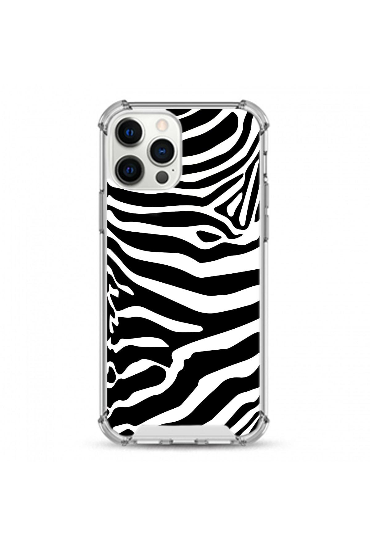 hey lori İphone 12 Pro Max Uyumlu Siyah Zebra Desen Darbe Koruyuculu Damla Baskı Silikon Kılıf 1