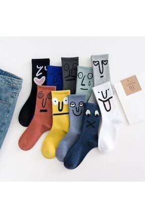 Özder SOCKS Unisex Renkli Gülen Yüz Çorap 10lu