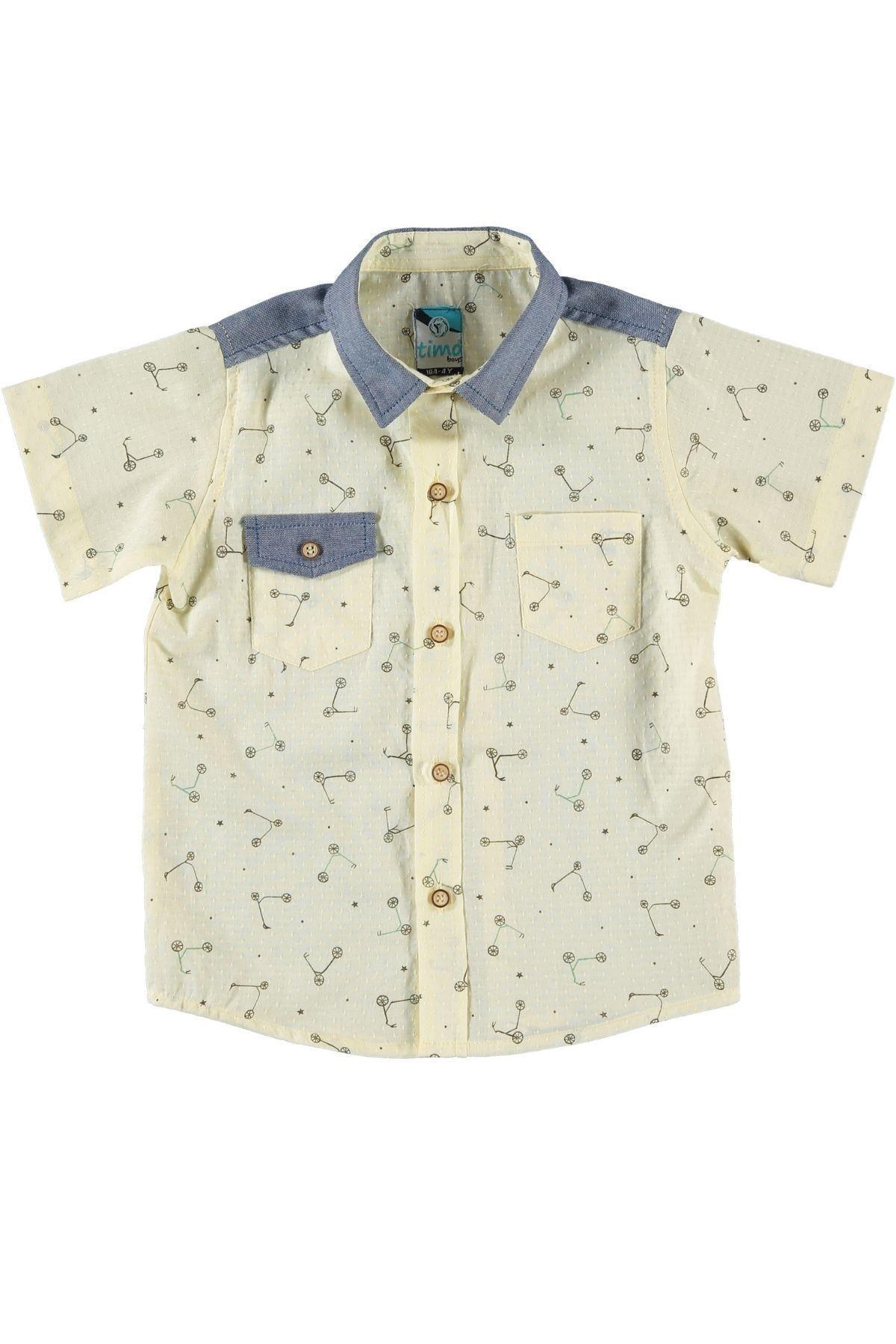 Timo Erkek Çocuk Sarı Garni Gömlek 1