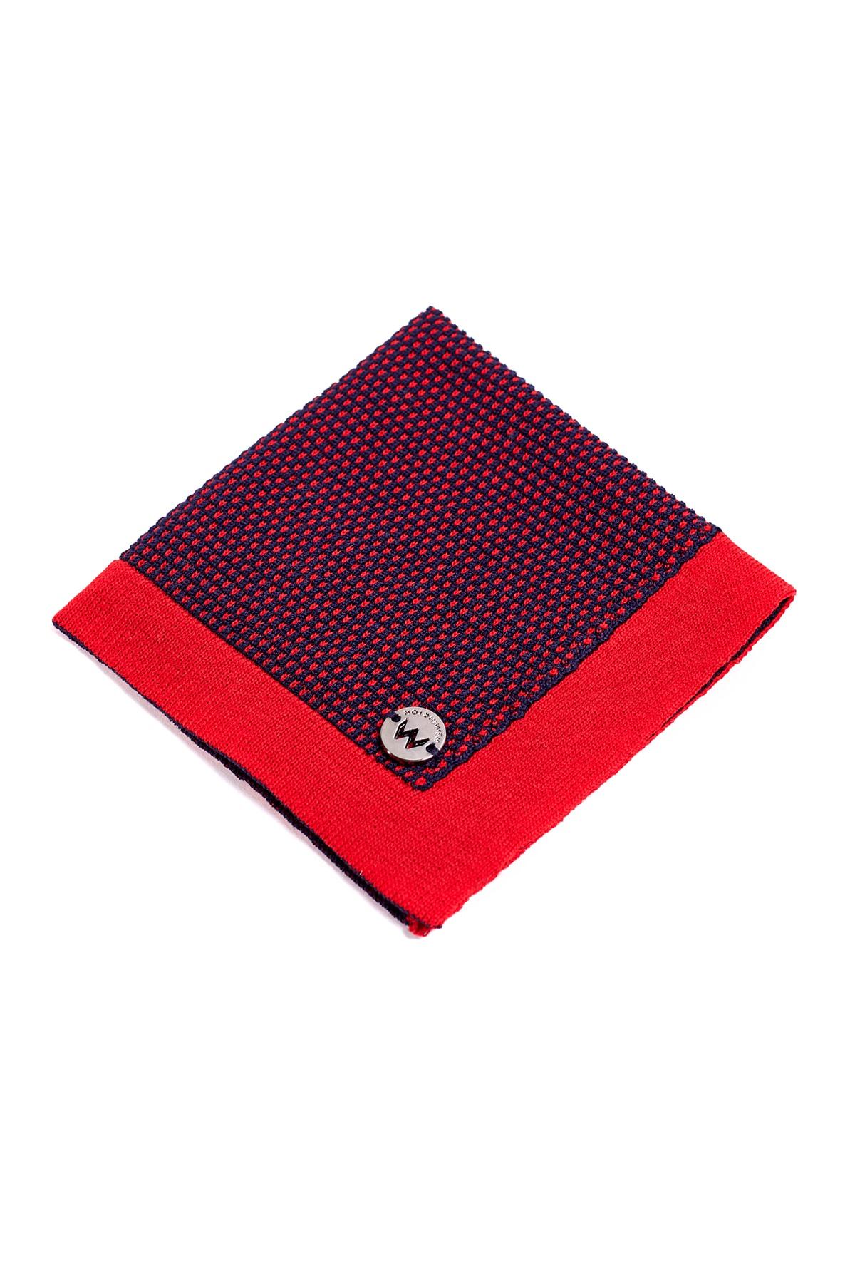 Hemington Erkek Lacivert Kırmızı Mikro Desen Örgü Mendil 1