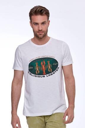 Hemington Erkek Baskılı Beyaz Pamuk T-shirt