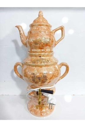 Yiğit Porselen Dekoratif Semaver Işlemeli Elektrikli Çay Makinesi 4.5 Litre