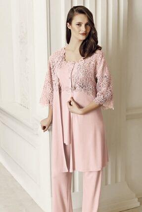 Artış Kadın Pudra 3'lü Sabahlık Pijama Takım-6305-2