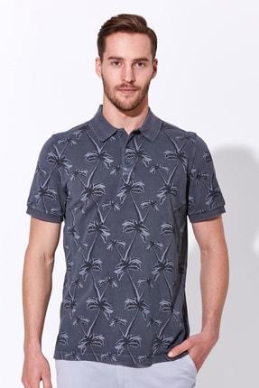Hemington Erkek Palmiye Desen Pike Örgü Gri Polo Yaka T-shirt