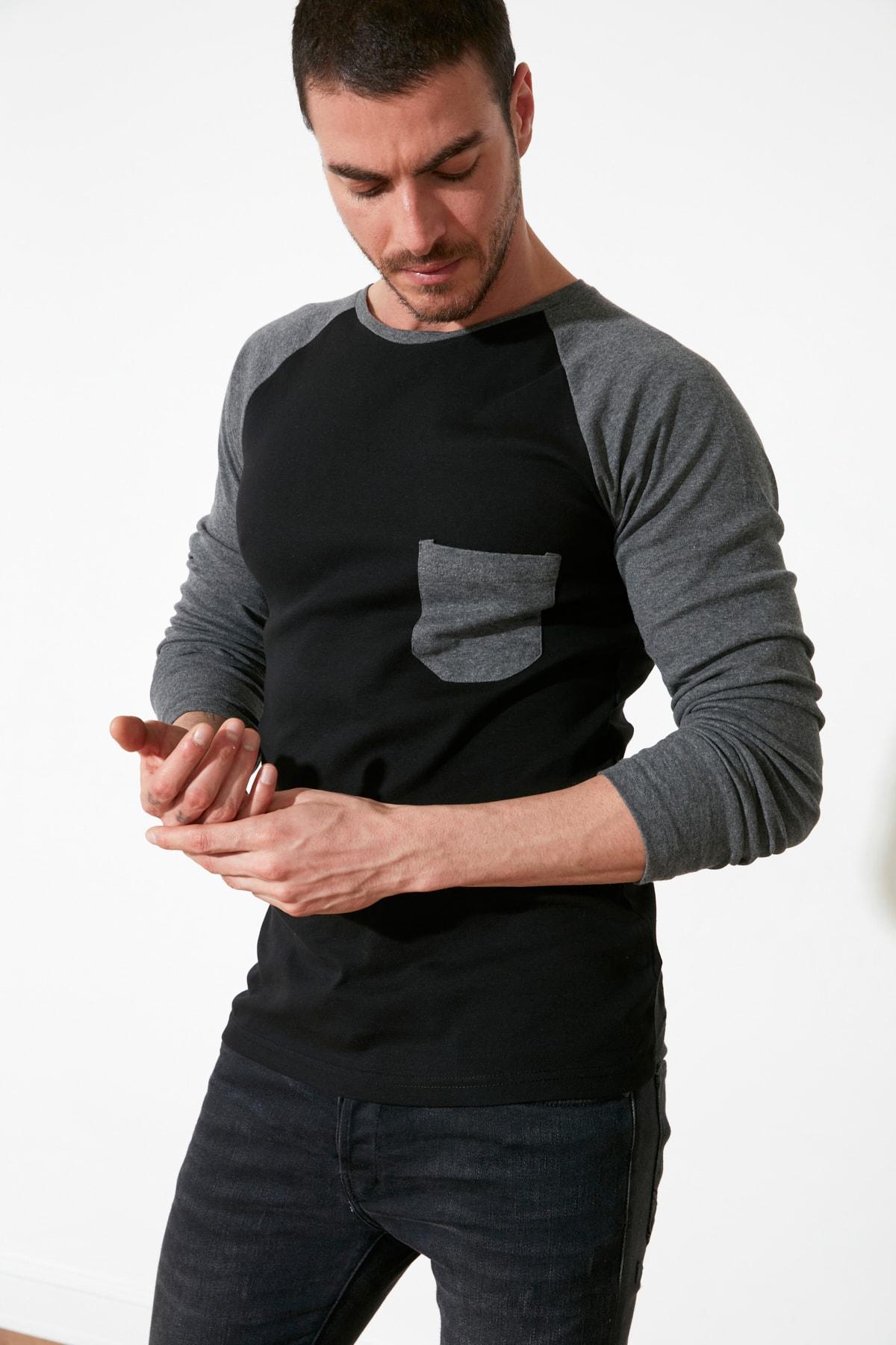 TRENDYOL MAN Antrasit Erkek Slim Fit Bisiklet Yaka Uzun Kollu T-Shirt TMNAW20TS0195 1