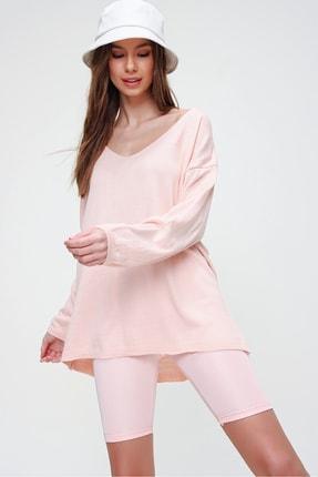 Trend Alaçatı Stili Kadın Pembe V Yaka Oversize Triko Bluz ALC-X5912