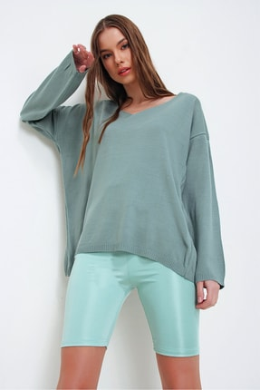 Trend Alaçatı Stili Kadın Çağla Yeşili V Yaka Oversize Triko Bluz ALC-X5912