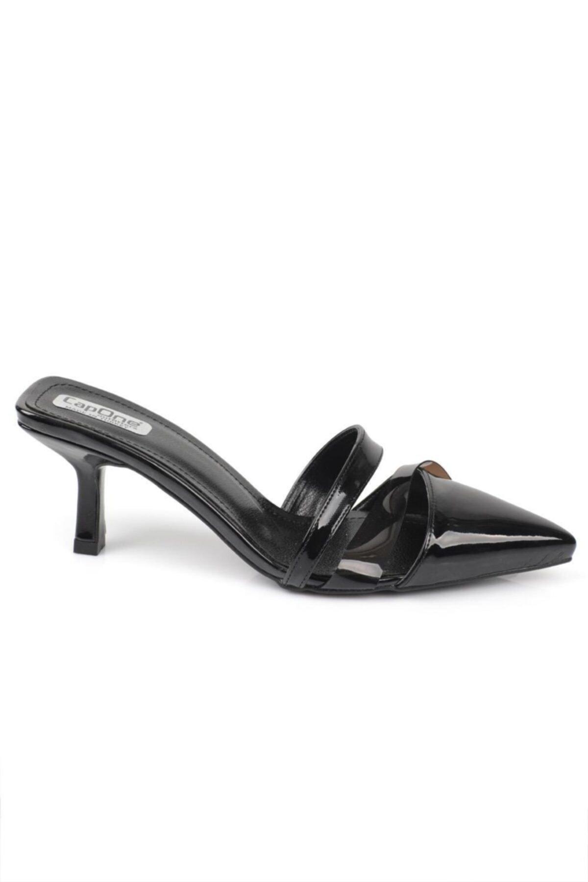 Capone Outfitters Kadın Siyah Topuklu Şeffaf Bantlı Kapalı Terlik 1