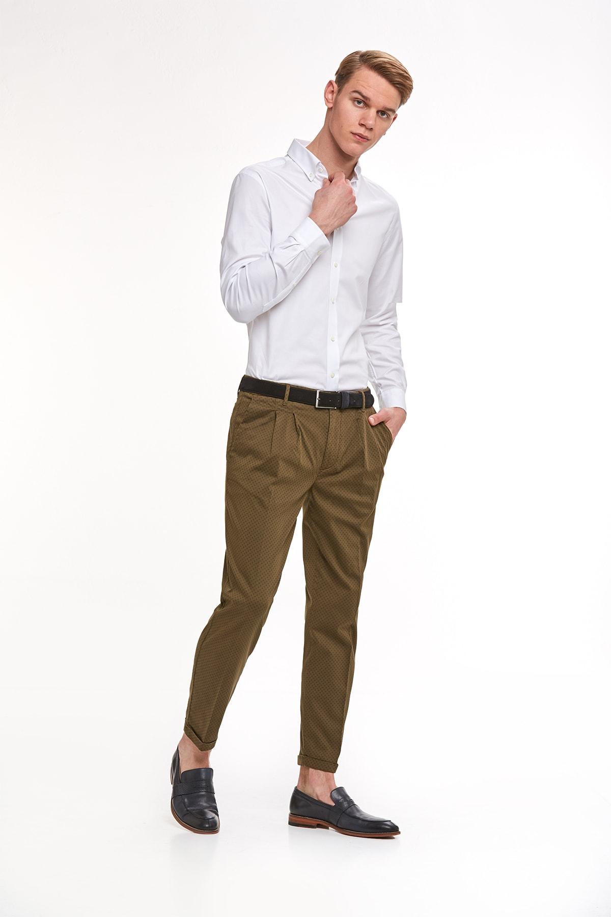 Hemington Haki Desenli Pamuk Chino Pantolon 2