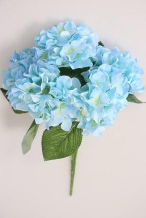 Yapay Çiçek Deposu Yapay Çiçek 5 Dal Ortanca Demeti Açık Mavi