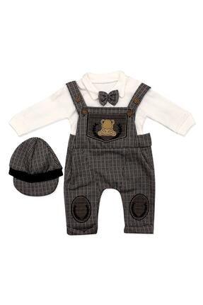 Murat Baby Bebek Kahverengi Kasketli Askılı Slopetli 3 Lü Takımı