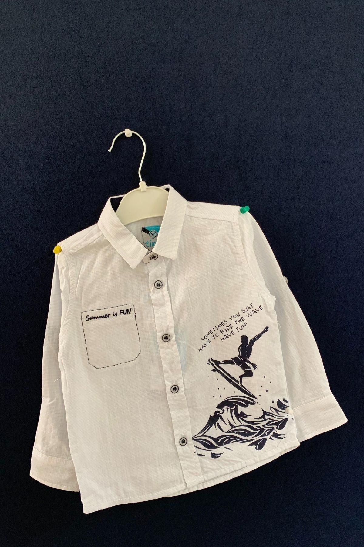 Timo Erkek Çocuk Baskılı Çizgili Gömlek 1
