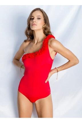 Bikinicim Çiçekli Tek Omuz Mayo Kırmızı Çiçek Yeni Sezon 2020