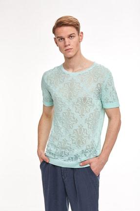 Hemington Yeşil Desenli Yazlık Keten Triko T-shirt