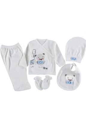 Çeyiz Diyarı Erkek Bebek Mavi Baloon Bear Hastane Çıkışı Seti 5 Parça