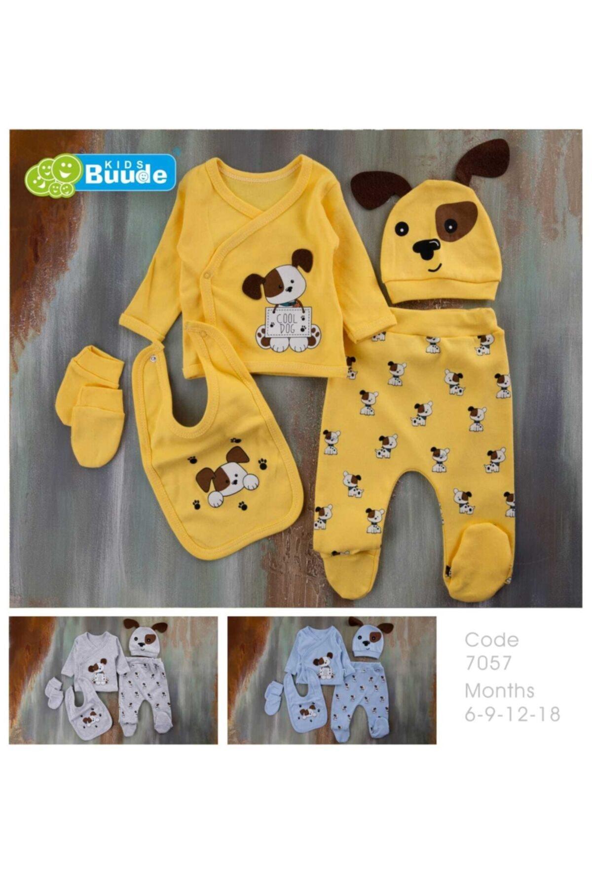 Kids Buude Unisex Bebek Sarı Cool Dog Baskılı 5 Parça Hastane Çıkış Seti 1