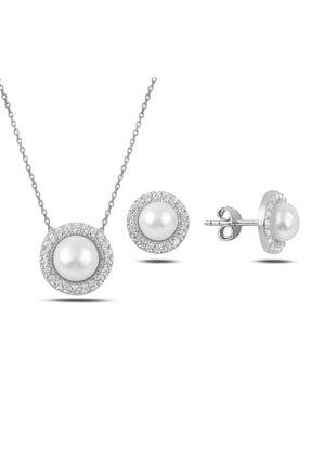 BELLA&BELLA Kadın Inci & Zirkon Taşlı Rodyum Kaplama 925 Ayar Gümüş Set