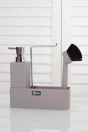 ACAR Lumea 2'li Akrilik Stand Fırçalı Kare Sıvı Sabunluk