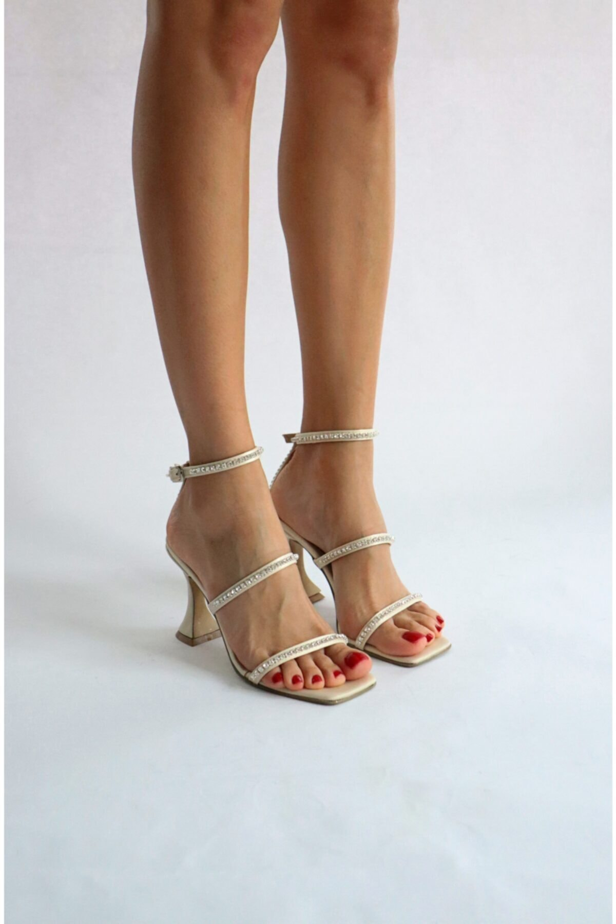 Burhan Atan Bej Saten Taş Detaylı Sandalet 1