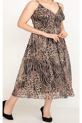 YUNA Kadın Desenli Elbise Kahve