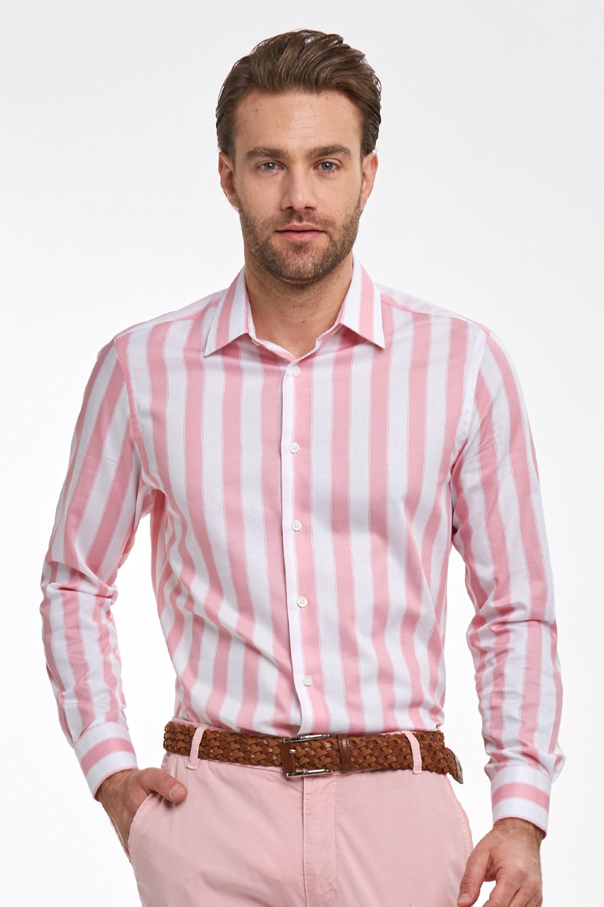 Hemington Erkek Pembe Beyaz Kalın Çizgili Pamuklu Gömlek 1