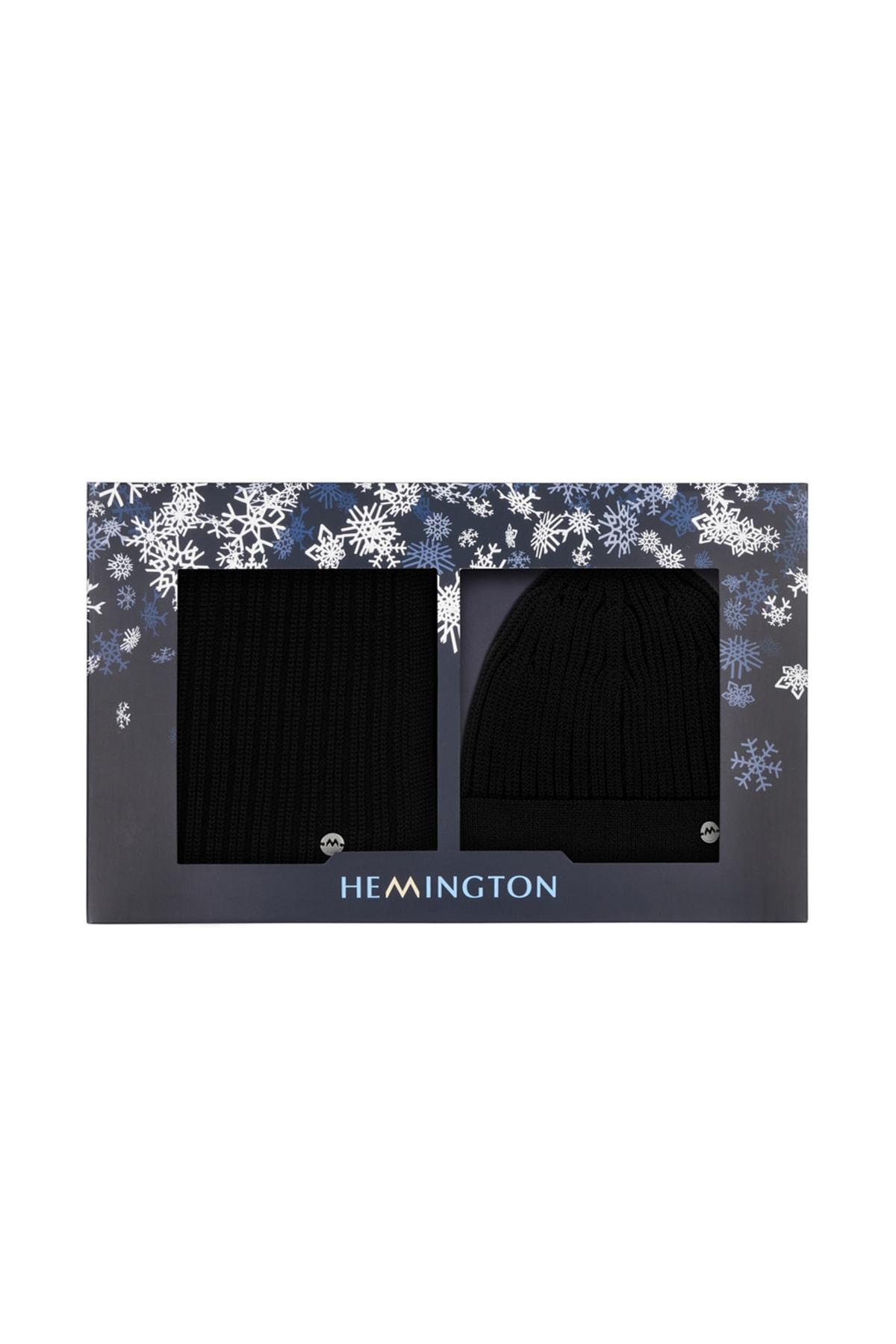 Hemington Erkek Siyah Yün Atkı 2