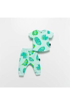 Moi Noi Moinoi Desenli Yeşil Bebek Çocuk Takımı