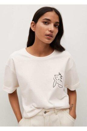 MANGO Woman Kadın Beyaz Kayık Baskılı Pamuklu Tişört
