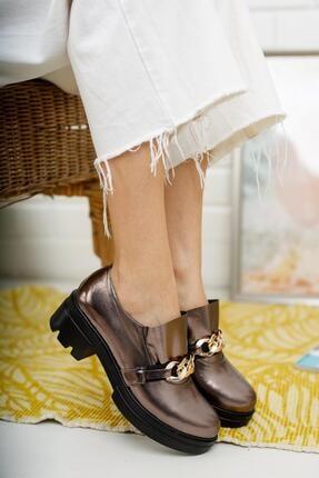 MUGGO Kadın Bakır Yüksek Taban Ayakkabı Mglisa06