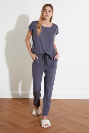 TRENDYOLMİLLA Lacivert Bağlama Detaylı Pijama Takımı THMSS20PT0068