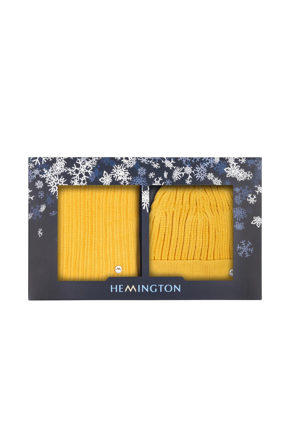 Hemington Erkek Sarı Yün Atkı 2