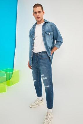 TRENDYOL MAN Indigo Erkek Destroylu Slim Crop Jeans TMNSS21JE0370