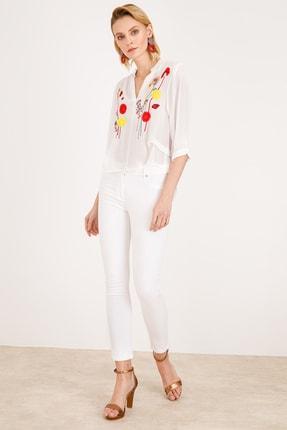 Ekol Kadın Ekru Çiçek Işlemeli Bluz